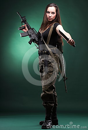 Army Woman With Gun-woman with rifle plastic