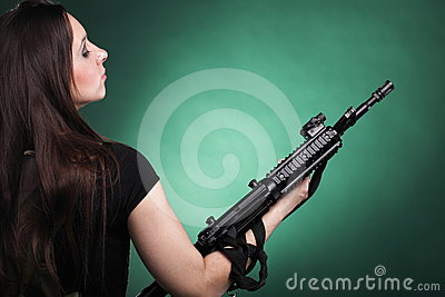 Army Woman With Gun - woman with rifle plastic