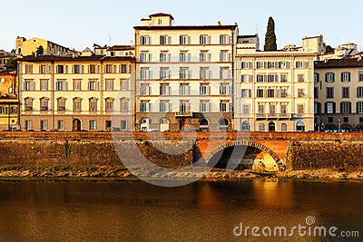 Arno River Embankment after Sunrise in Florence