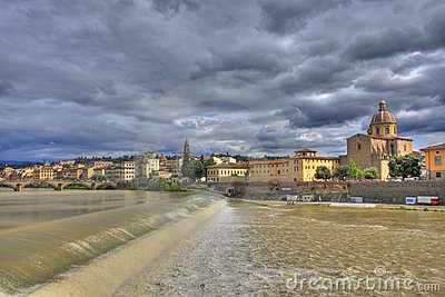 Arno river and Florence landscape
