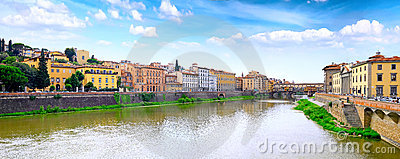 Arno river in Florence,Tuscany, Italy. Panorama