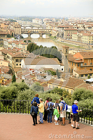 Arno River flowing through Florence, Italy Editorial Stock Image