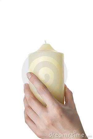 Aroma candle in a female hand