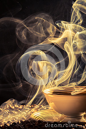 Aroma of freshly brewed coffee