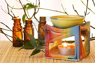Aroma Oil Bowl and Bottles