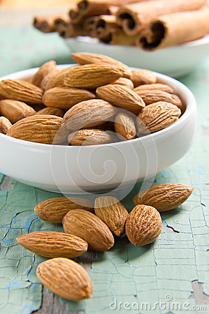 Aroma spices. Cinnamon and almonds.