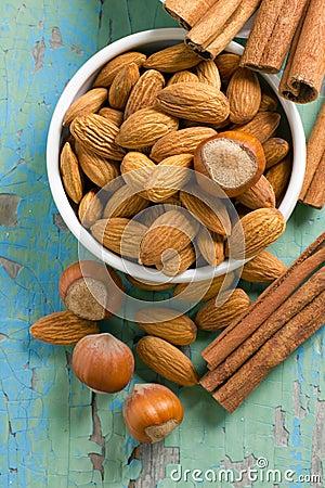 Aroma spices. Cinnamon, almonds and hazelnuts.
