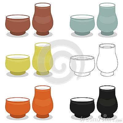 Free Aroma Tea Cup Pair Sets Of Different Cly Types Stock Images - 102238664