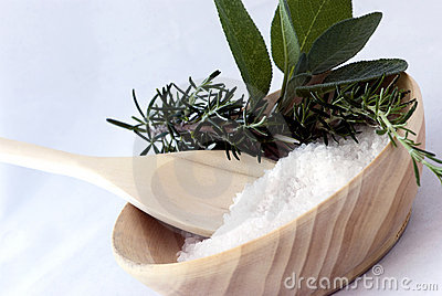 Aromatherapy - bath salt, sage and rosemary