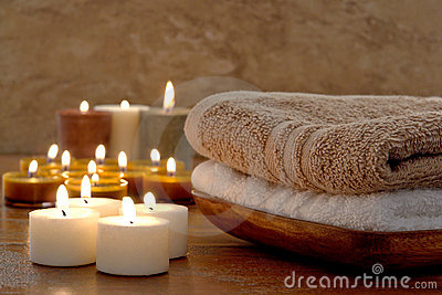 Aromatherapy Candles and Towels in a Spa