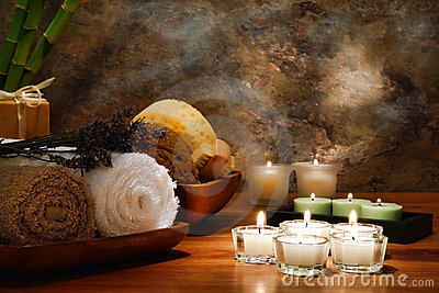 Aromatherapy Candles and Towels for Spa Treatment