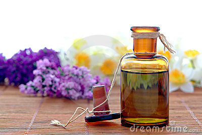 Aromatherapy Essential Oil Extract Bottle in a Spa