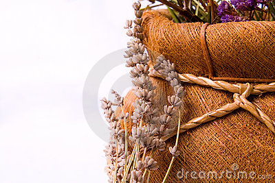 Aromatherapy: lavender flowers and basket