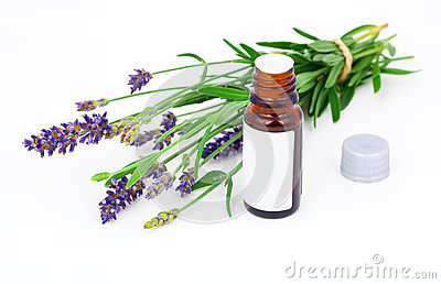 Aromatherapy Lavender Oil And Lavender Flower Royalty Free