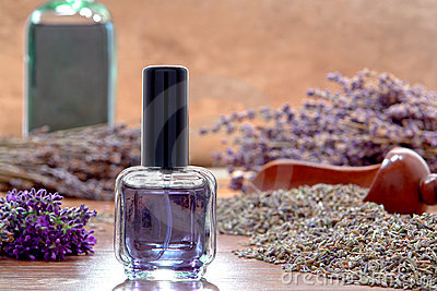 Aromatherapy Perfume Bottle and Lavender Flowers