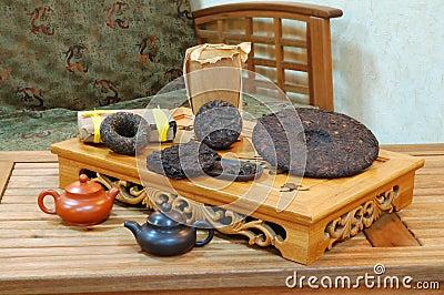 Aromatic black pu-erh tea leaves.