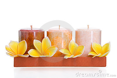 Aromatic candles with frangipani