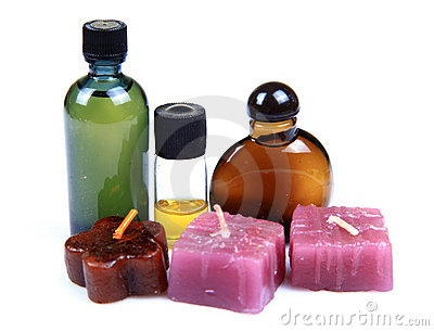 Aromatic candles and spa oils
