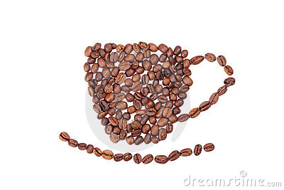 Aromatic coffee beans cup on white