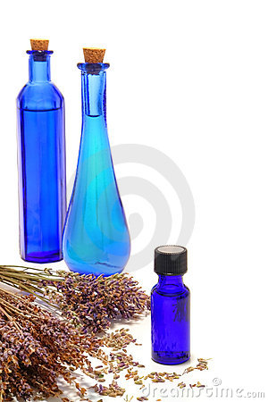 Aromatic Essential Oil Bottles and Lavender