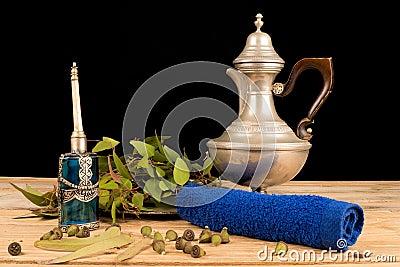 Aromatic eucalyptus on table