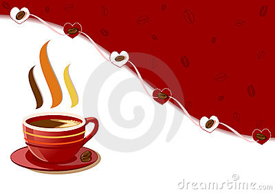 Aromatic fresh cup of coffee with hearts design
