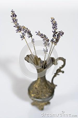 Aromatic lavender stems in a vintage vase