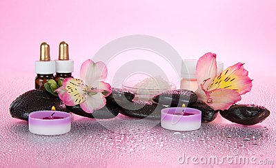 Aromatic oil, salt, candles, stones, flower