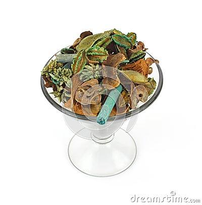 Aromatic potpourri in glass dish