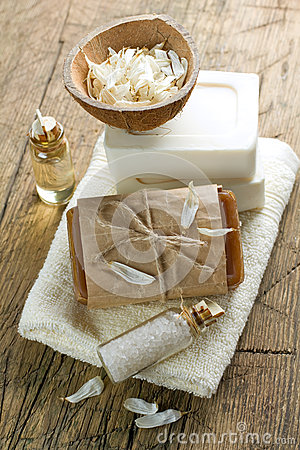 Aromatic spa set with soap and herbs