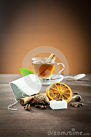 Aromatic spices and tea bag