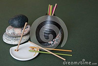 Aromatic Sticks, Porcelain Stand and Japan Vase