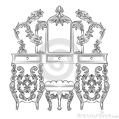 Aroque Rococo Console Table Stock Photo