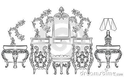 Aroque Rococo Console Table Stock Photo