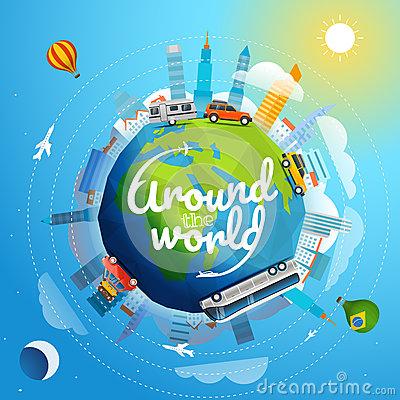 Free Around The World Tour By Different Vehicle Royalty Free Stock Photo - 87100245