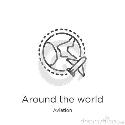 around the world icon vector from aviation collection. Thin line around the world outline icon vector illustration. Outline, thin Vector Illustration