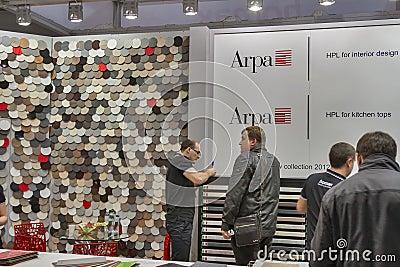 ARPA Italian furniture company booth Editorial Stock Photo