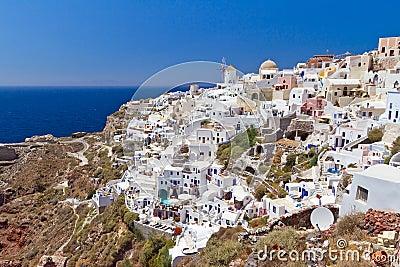 Arquitetura da cidade de Oia do console de Santorini
