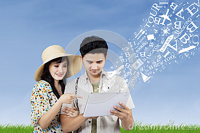 Arrange honeymoon travel from electronic tablet