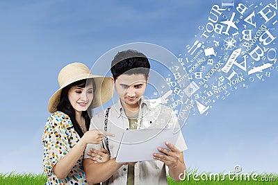 Arrange honeymoon travel from electronic tablet