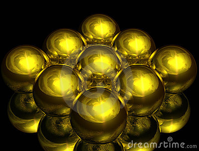 Arranged gold balls