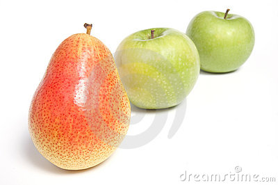 Arranged pear and green apples