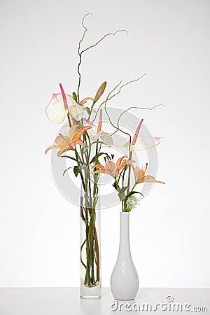 Arrangement of Anthurium and Stargazer lilies