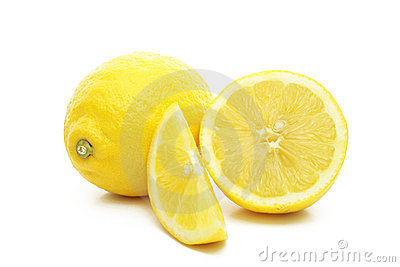 Arrangement of lemons on a white background.