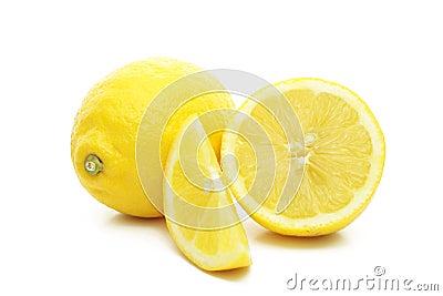 Arrangement of lemons on a white background.