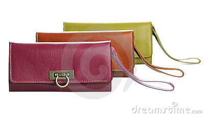 Arranges genuine woman leather wallets