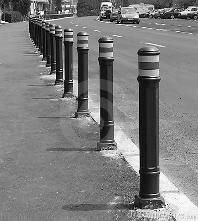 Array of street pylons