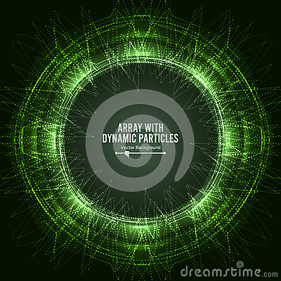 Array Vector With Dynamic Particles. Technology Motion Design. Graphic Abstract Background Lighting Effect Vector Illustration