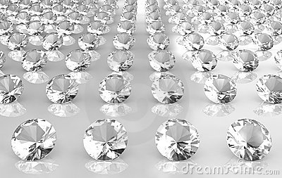 Array of white brilliant cut round diamonds