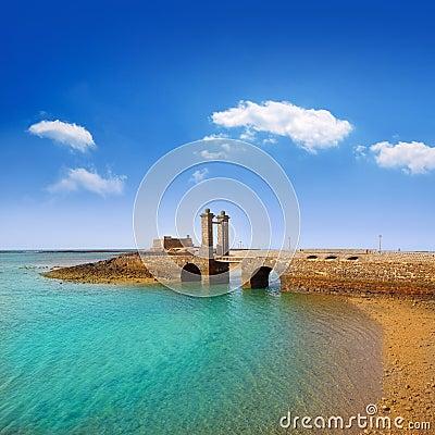 Free Arrecife Lanzarote Castle And Bridge Stock Photography - 26597292